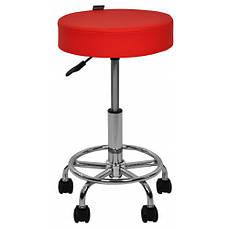 Крісло табурет на колесах без спинки кругле Bonro B-830 червоне