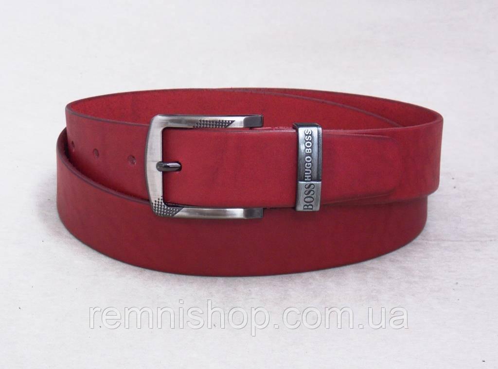 Красный мужской ремень кожаный