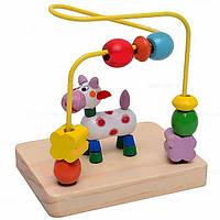 Деревянный пальчиковый лабиринт - деревянная логическая игрушка, деревянная серпантинка с бусинками