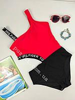 Детский купальник слитный с брендовой надписью для девочки 120-160р