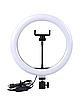 Кольцевая светодиодная лампа RING FILL LIGHT диаметром 26 см с держателем телефона, питание от usb без штатива, фото 2