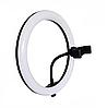 Кольцевая светодиодная лампа RING FILL LIGHT диаметром 26 см с держателем телефона, питание от usb без штатива, фото 6