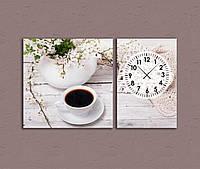 Картина для декора гостиной с часами Кофе