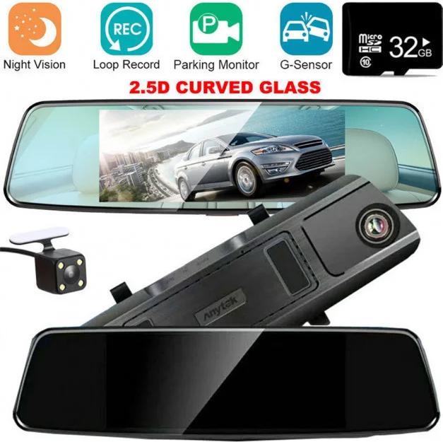 Автомобільний відеореєстратор дзеркало заднього виду Anytek T77 Full Hd Нічне бачення / Подвійний об'єктив