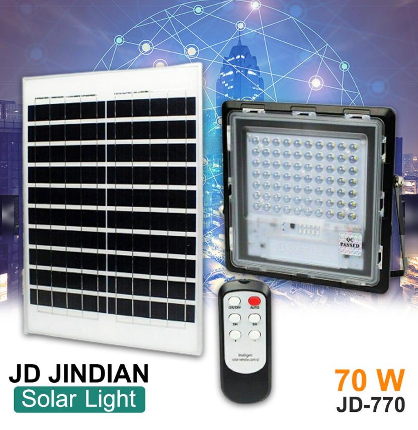 Прожектор Jindian JD-770 70W, IP67, сонячна батарея, пульт ДУ, вбудований акумулятор, таймер