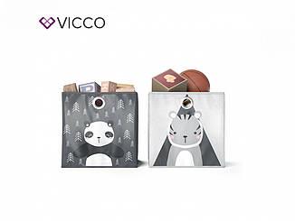 Ящики для хранения Vicco, 2 шт., панда, тигр