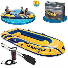 Тримісна Intex надувний човен + алюмінієві весла і ручний насос Challenger 3 Set (68370sh)