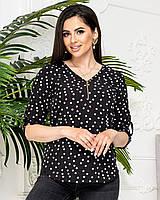 Блуза в горох черная/черного цвета арт. 158/1