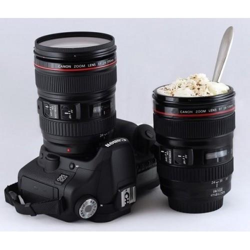 Термокружка с оригинальным дизайном в виде объектива Canon