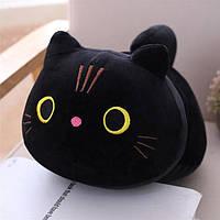Дитяча декоративна плюшева, м'яка іграшка кіт чорний
