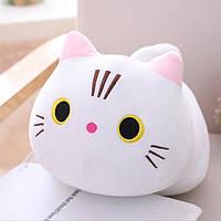 Дитяча декоративна плюшева, м'яка іграшка кіт білий