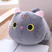 Дитяча декоративна плюшева, м'яка іграшка кіт сірий