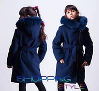 Кашемировое пальто - зимнее( синее)