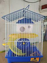Клетка для хомяка средняя (2 уровня) крыша домиком (23*17*32см) Синий