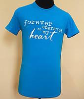 Мужская футболка из стрейч- кулира голубая