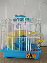 Клетка для хомяка средняя (2 уровня) крыша полуквадрат (23*17*24см) Голубой