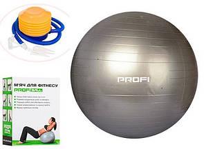 Гимнастический мяч для фитнеса (фитбол) 65 см + насос Profi MS 1540 в коробке серый