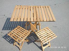 Стол складной деревянный дубовый + 2 стула