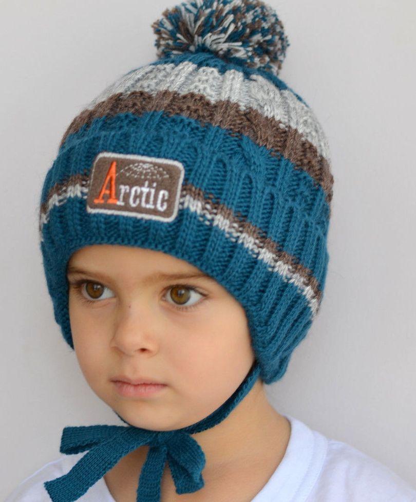 Зимняя шапка для мальчика на флисе Рок Арктик (ОГ 52-56)