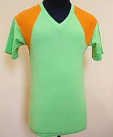 Мужская футболка из стрейч- кулира салатовая с оранжевым