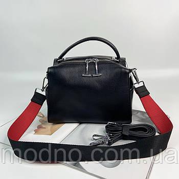 Женская кожаная сумка на и через плечо с двумя ремешками черная