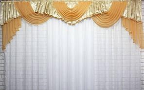 Ламбрекен из плотной шторной жаккардовой ткани и шифона. Цвет янтарный с золотистым. Код 129л 438ш