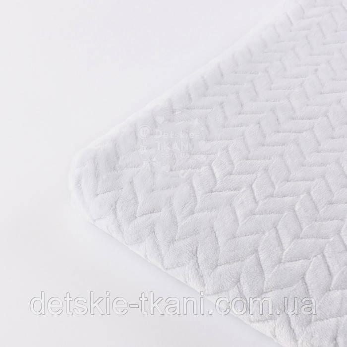 Лоскут плюша косичка белого цвета, размер 120*75 см (есть загрязнения)