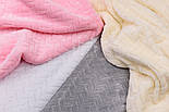 Лоскут плюша косичка белого цвета, размер 120*75 см (есть загрязнения), фото 5