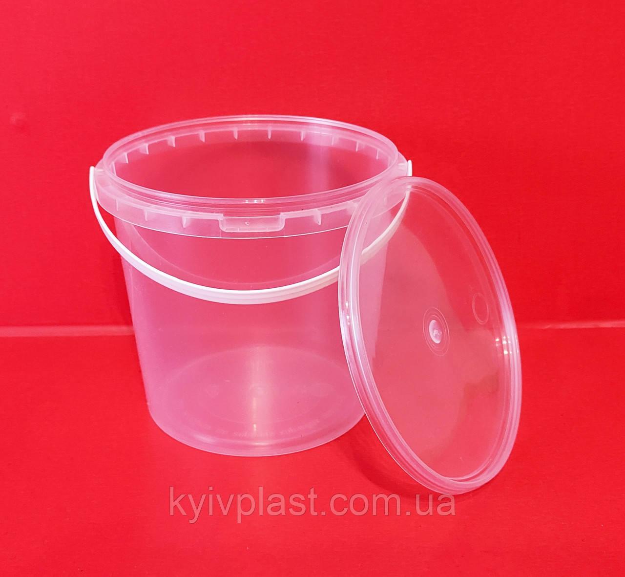 Ведро пластиковое пищевое 1 л СТ прозрачное