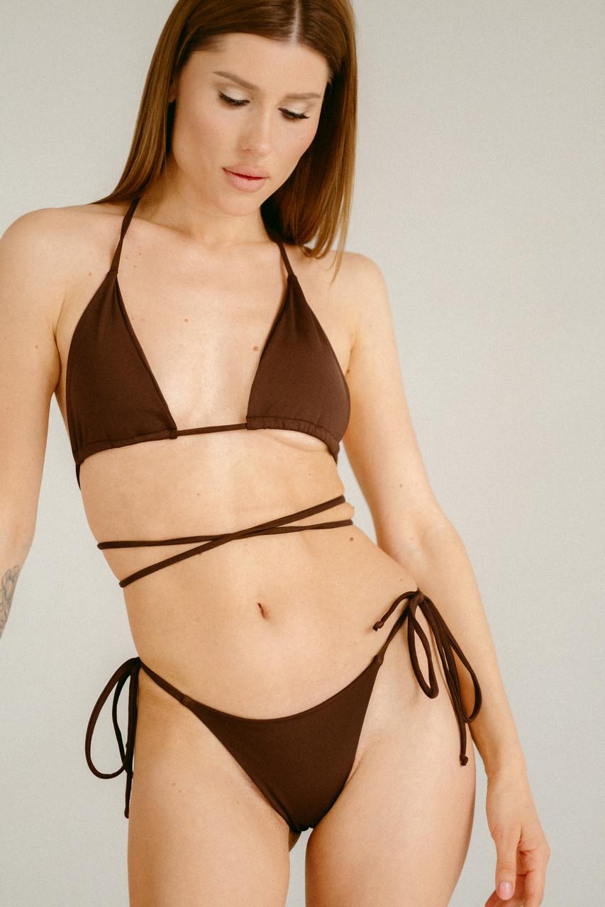 Купальник женский бикини на завязках шоколад