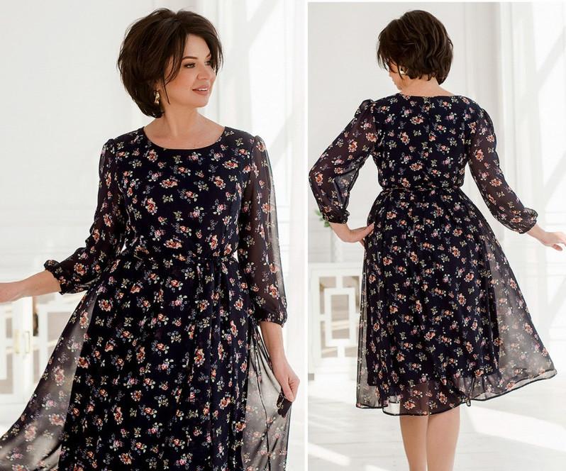 Женское красивое платье синий, 52