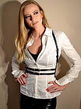 Стильна жіноча портупея на плечі і талію зі штучної шкіри в два ремінця. Регулюється
