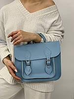 Голубая сумка женская портфель с длинным ремешком на плечо и ручкой A0002 blue, фото 1