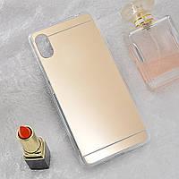 Чехол Fiji Mirror для Vivo Y1S (без сканера отпечатка) силикон зеркальный бампер золотой