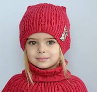 Зимняя шапка для девочки на флисе Кошка Арктик (ОГ 48-54)