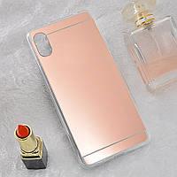 Чехол Fiji Mirror для Vivo Y1S (без сканера отпечатка) силикон зеркальный бампер розовое золото