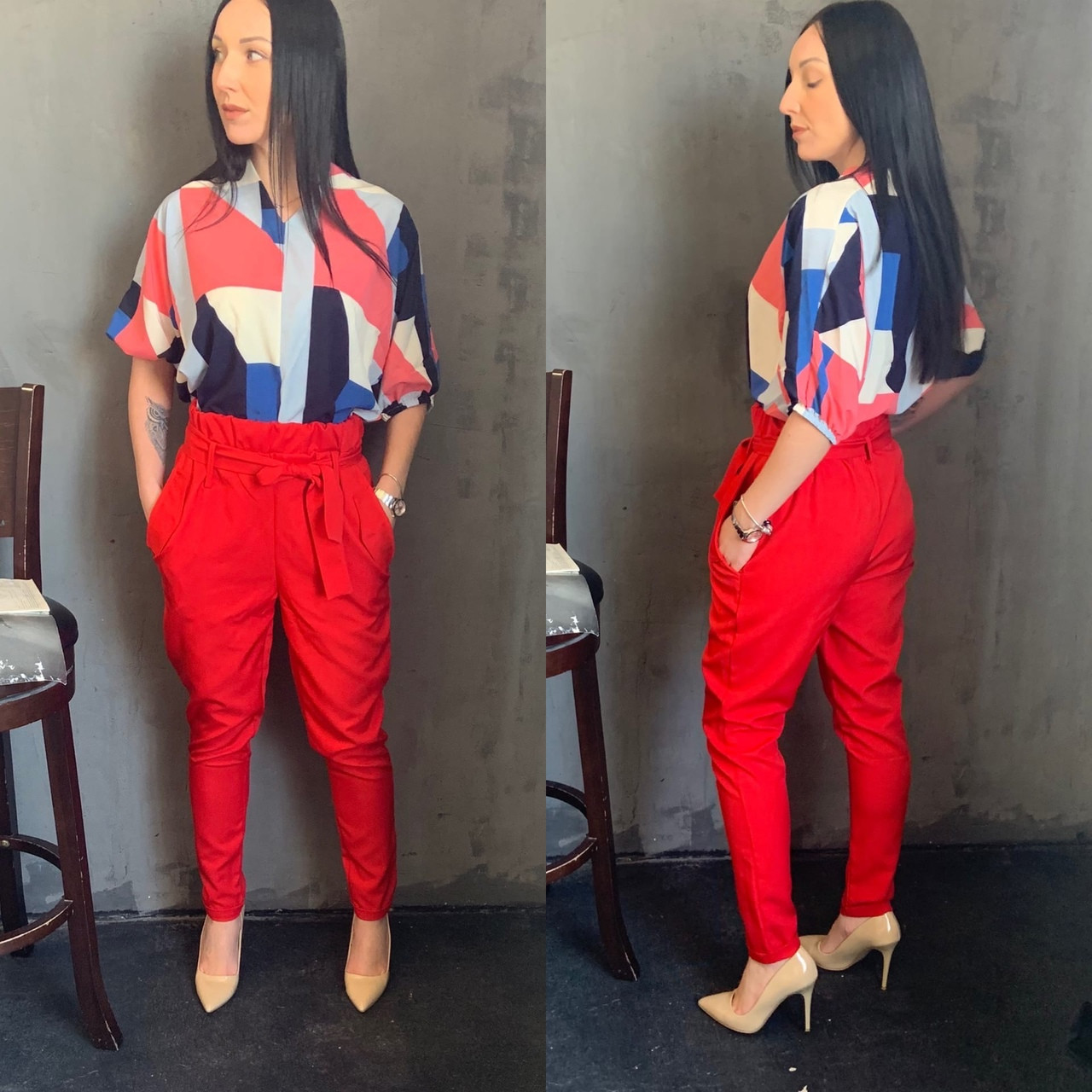 Жіночий брючний костюм з брюками і блузкою в кольорах (Норма)