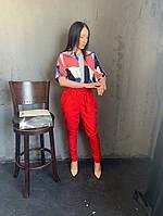 Жіночий брючний костюм з брюками і блузкою в кольорах (Норма), фото 5