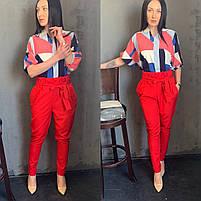 Жіночий брючний костюм з брюками і блузкою в кольорах (Норма), фото 6