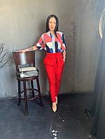 Жіночий брючний костюм з брюками і блузкою в кольорах (Норма), фото 8