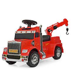 Дитяча електро-толокар вантажівка з краном ZPV118BR-3 Червоний