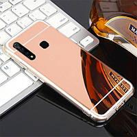 Чехол Fiji Mirror для Vivo Y15 силикон зеркальный бампер розовое золото