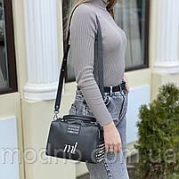 Жіноча шкіряна сумка бочонок на і через плече Polina & Eiterou, фото 3