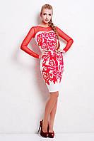 Женское красно-белое платье с рукавами из сетки