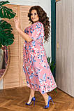 Жіноче плаття з квітковим принтом Розмір 50 52 54 56 58 60 62 64 В наявності 2 кольори, фото 2
