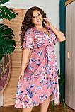 Жіноче плаття з квітковим принтом Розмір 50 52 54 56 58 60 62 64 В наявності 2 кольори, фото 3