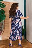 Жіноче плаття з квітковим принтом Розмір 50 52 54 56 58 60 62 64 В наявності 2 кольори, фото 4