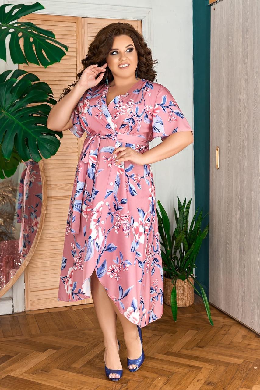 Жіноче плаття з квітковим принтом Розмір 50 52 54 56 58 60 62 64 В наявності 2 кольори