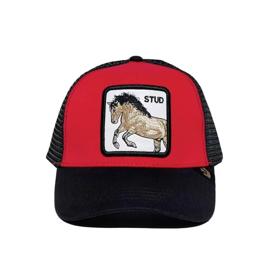 Кепка Бейсболка Тракер с сеткой Goorin Brothers Animal Farm Stud с Конем Черно-Красная