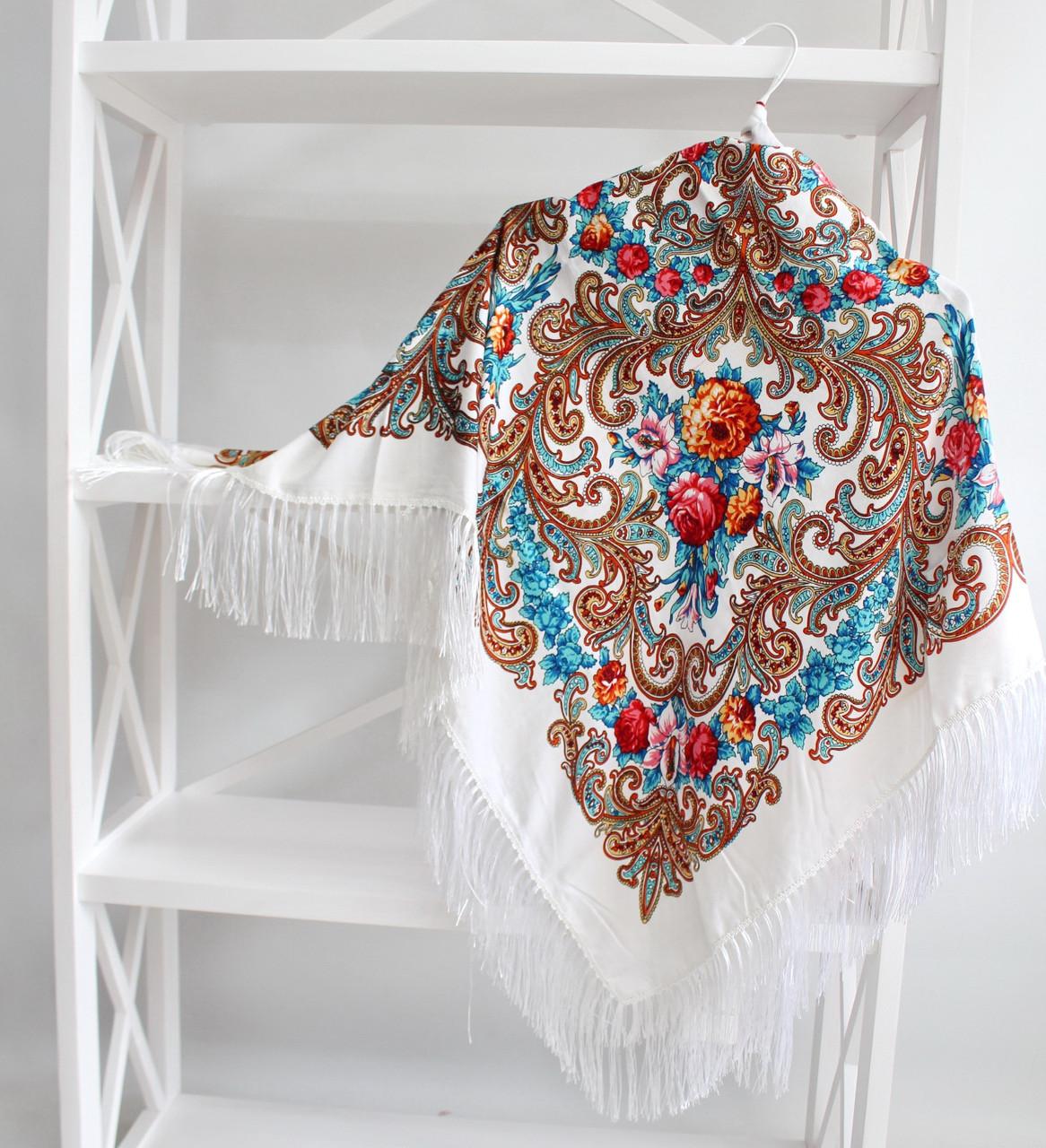 Платок белый в народном стиле (611002)